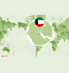 America centric world map with magnified kuwait vector
