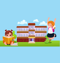 Back to school concept for banner children stand vector