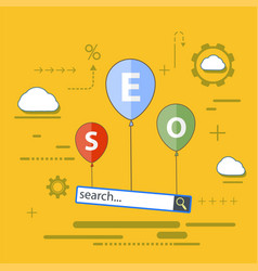 Balloons with seo analytics vector