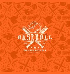 baseball seamless pattern and emblem vector image