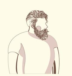 bearded man in white t-shirt vector image