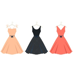 Beautiful retro summer dress set isolated on white vector