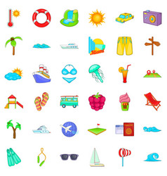 Big vacation icons set cartoon style vector