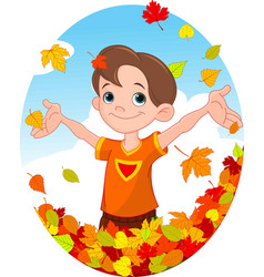 Boy and leaves vector