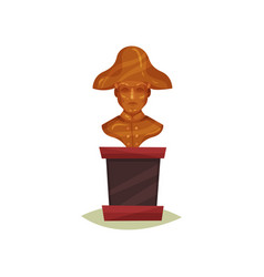 Bronze bust of man in hat statue of famous person vector