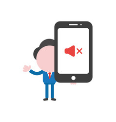 businessman character holding smartphone with vector image