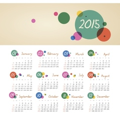 Calendar 2015 year with circles vector