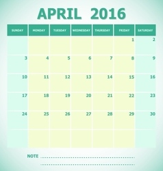 Calendar April 2016 week starts Sunday vector
