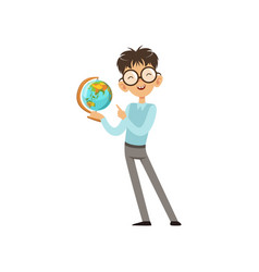 Cartoon character of nerd boy with world globe in vector