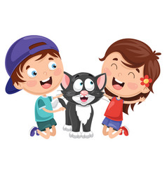 Cartoon kids with cat vector
