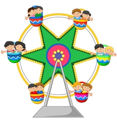 Cartoon little child in the Ferris Wheel vector