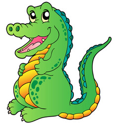 Cartoon standing crocodile vector