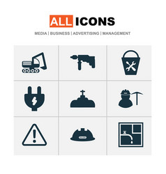 construction icons set with electric plug bucket vector image