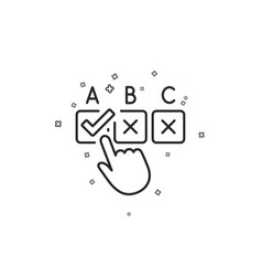Correct checkbox line icon select answer sign vector