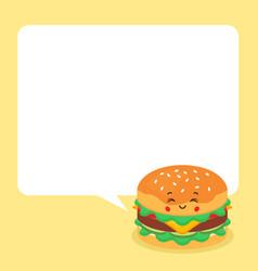 Cute burger with speech bubbles vector