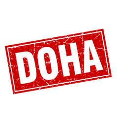 Doha red square grunge vintage isolated stamp vector