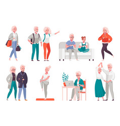 elderly people cartoon set vector image