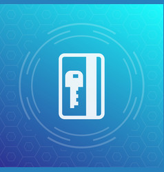Electronic pass plastic card key icon vector