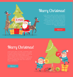 Elves in santa suit and deer helper decorate tree vector