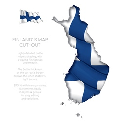 Finland Map Cut Out with Waving Flag vector