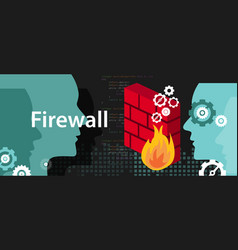 firewall computer security protection from safety vector image
