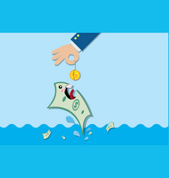Fishing banknote with coin investment concept vector