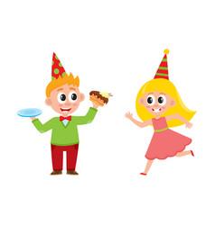 flat boy eats cake girl running vector image
