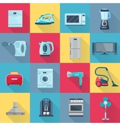 Flat Color Household Appliances Icons vector