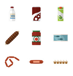flat icon meal set of bottle fizzy drink vector image