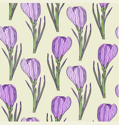 Floral seamless pattern with purple realistic vector
