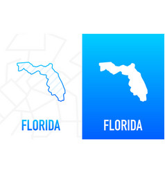 Florida - us state contour line in white vector