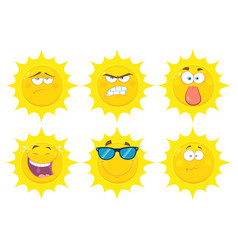 funny yellow sun character collection - 2 vector image