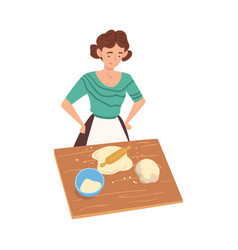 girl rolling dough and cooking in kitchen vector image