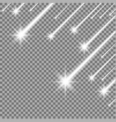 Glowing falling stars white color vector