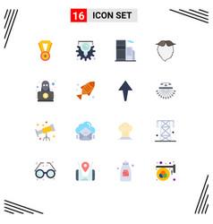 Group 16 modern flat colors set for hacker men vector