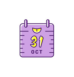 halloween calendar icon 31st october colorful vector image