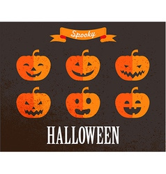 Halloween cute set of pumpkin icons vector
