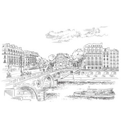 hand drawing paris 7 vector image
