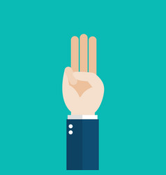 Hand showing three fingers salute vector