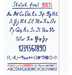 handwritten English alphabet vector image