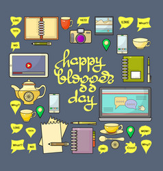 Happy blogger day vector