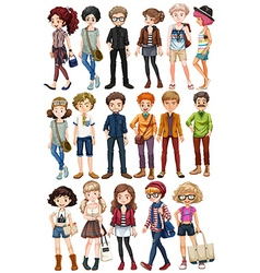 Hipster people in fashionable clothes vector