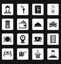 Hotel icons set squares vector