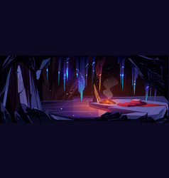 Ice cave in mountain with campfire sleeping bag vector
