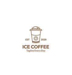 Ice cup drink line logo design vector