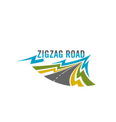 Icon zig zag road for travel safety vector