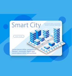 isometric city with skyscraper vector image