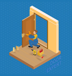 isometric interior repairs concept builder fixe vector image