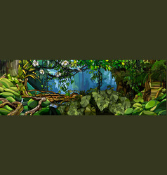 Jungle background with lush tropical plants and vector