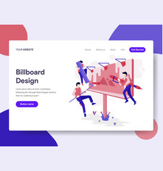 landing page template of billboard design process vector image